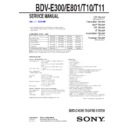 Sony BDV-E300 Service Manual