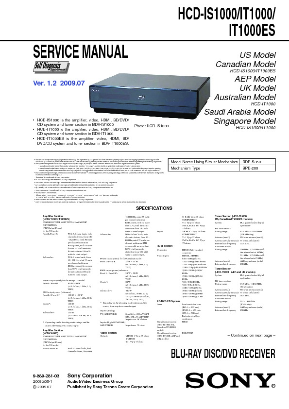 sony bdv is1000 bdv it1000 bdv it1000es hcd is1000 hcd it1000 rh servicemanuals us Sony BDV- N8100W 5 1 Sony BDV- T57