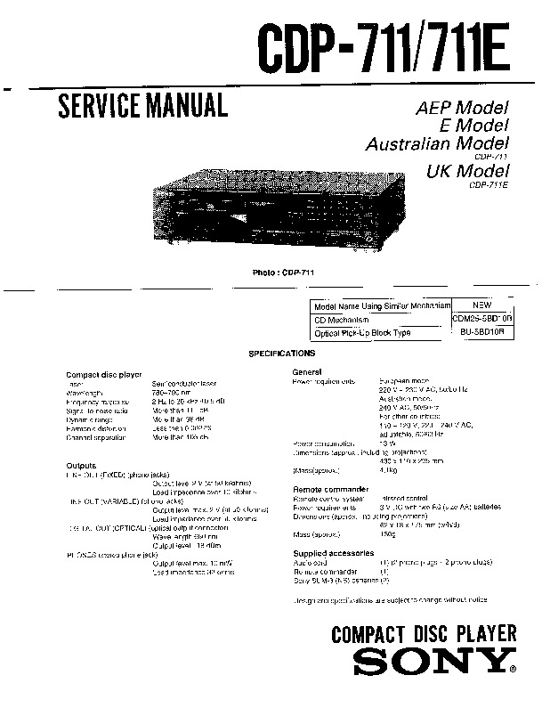 Sony Cdp-711  Cdp-711e Service Manual