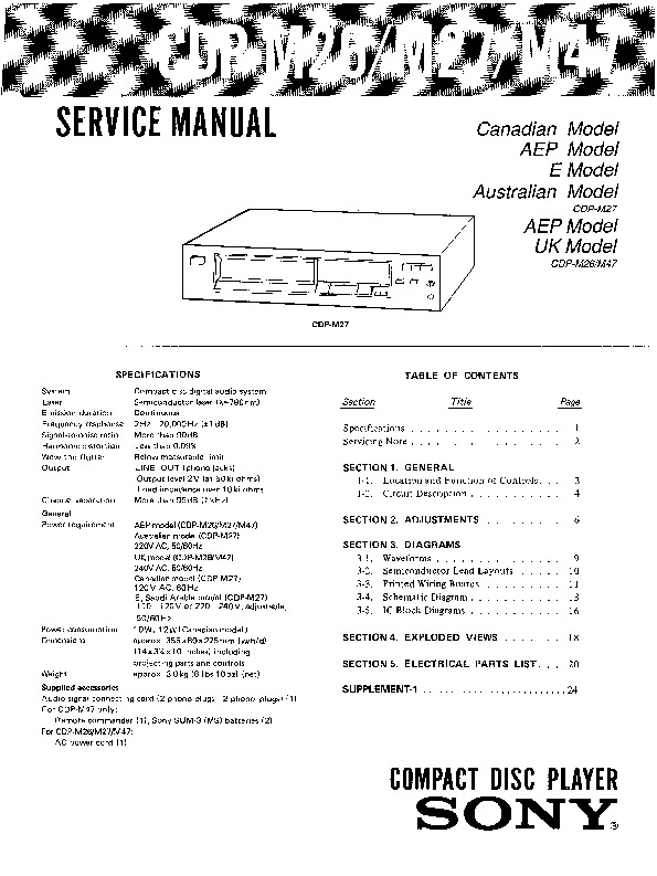 m27 wiring diagram sony cdp-m26, cdp-m27, cdp-m47 service manual - free download #8