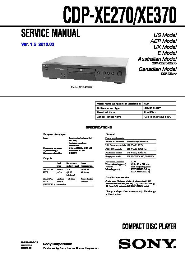 sony cdp 101 service manual