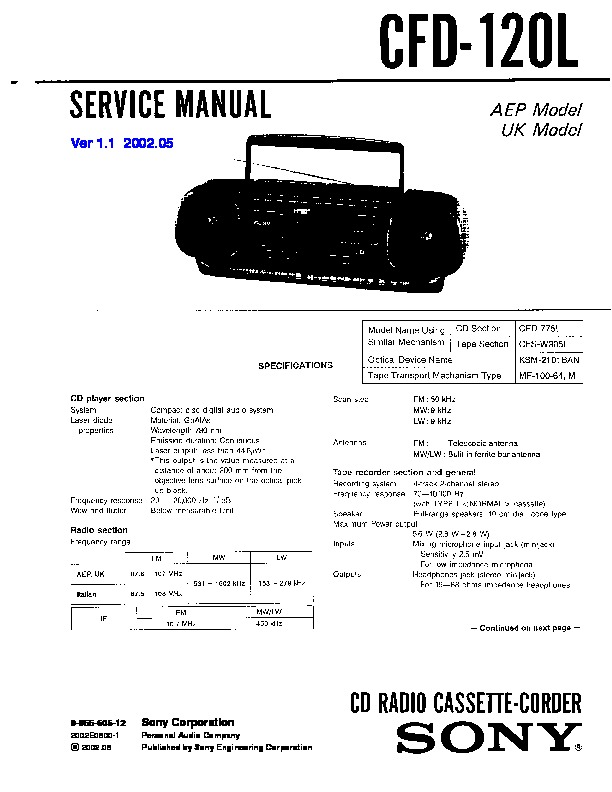 sony cfd-12 service manual