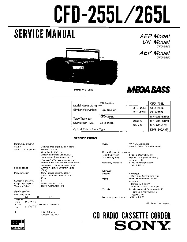 sony cfd-255l  cfd-265l service manual