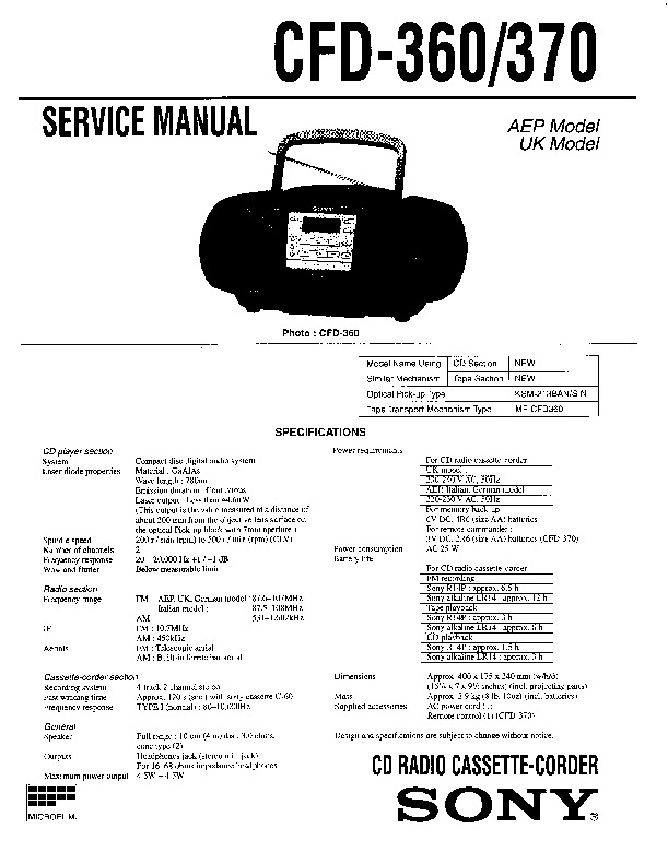 sony cfd-360  cfd-370 service manual