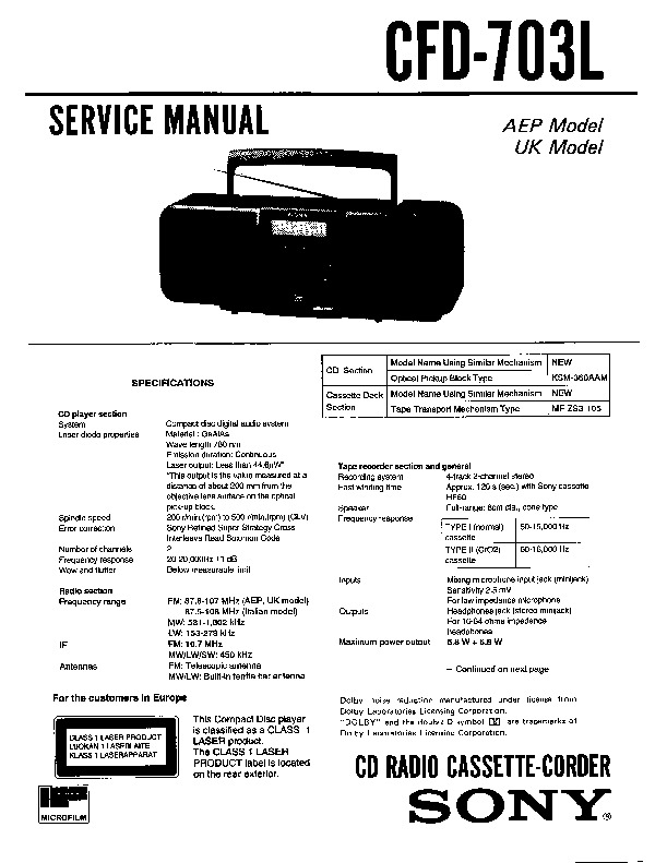 sony cfd-703l service manual