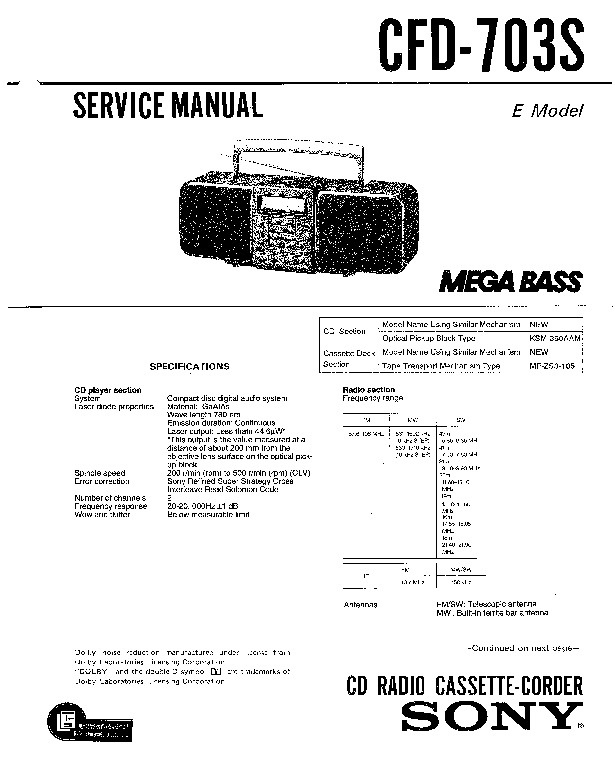 sony cfd-610  cfd-7  cfd-8 service manual