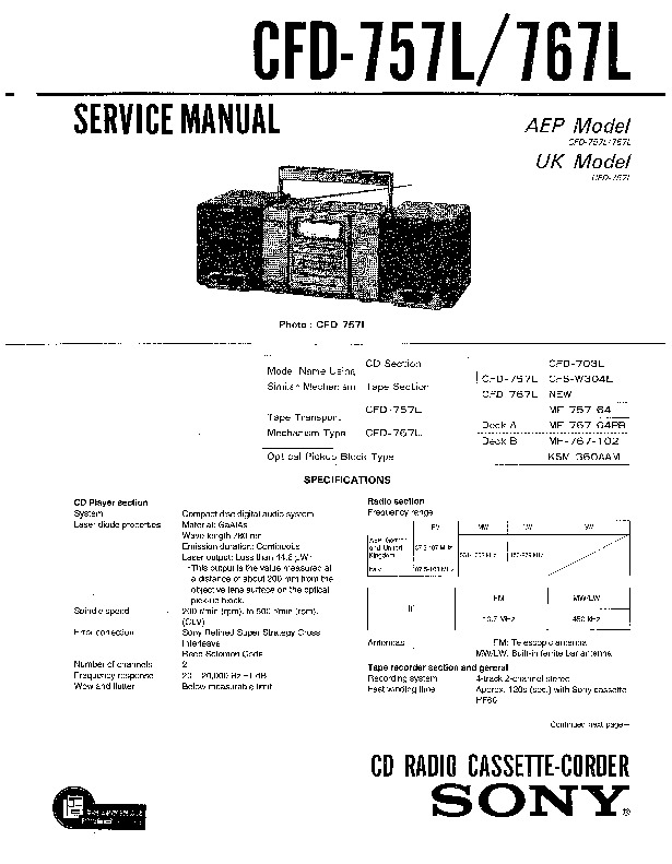 sony cfd-580  cfd-757  cfd-767 service manual