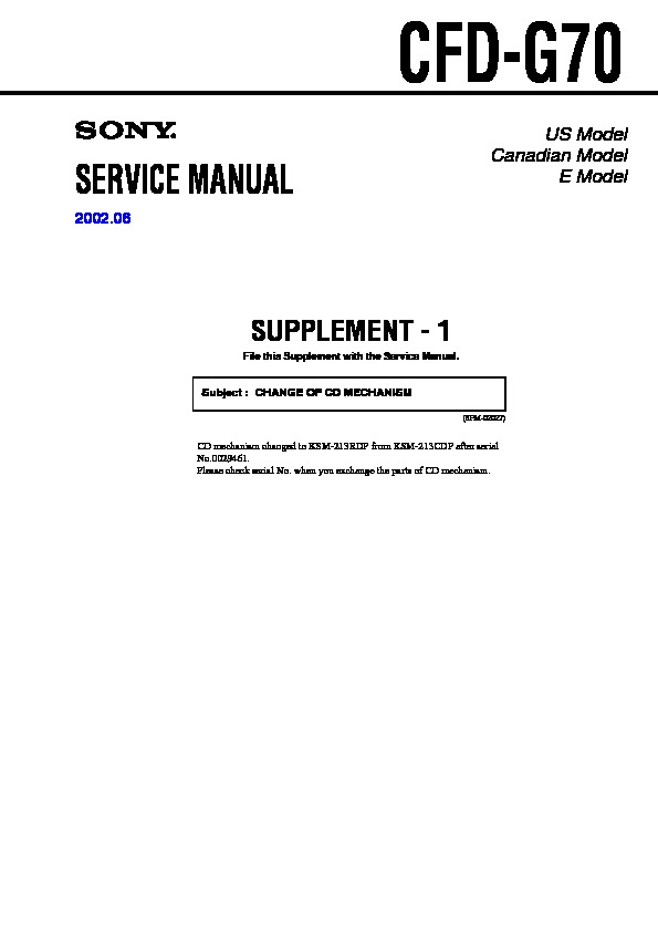 Sony Cfd-g70 Service Manual