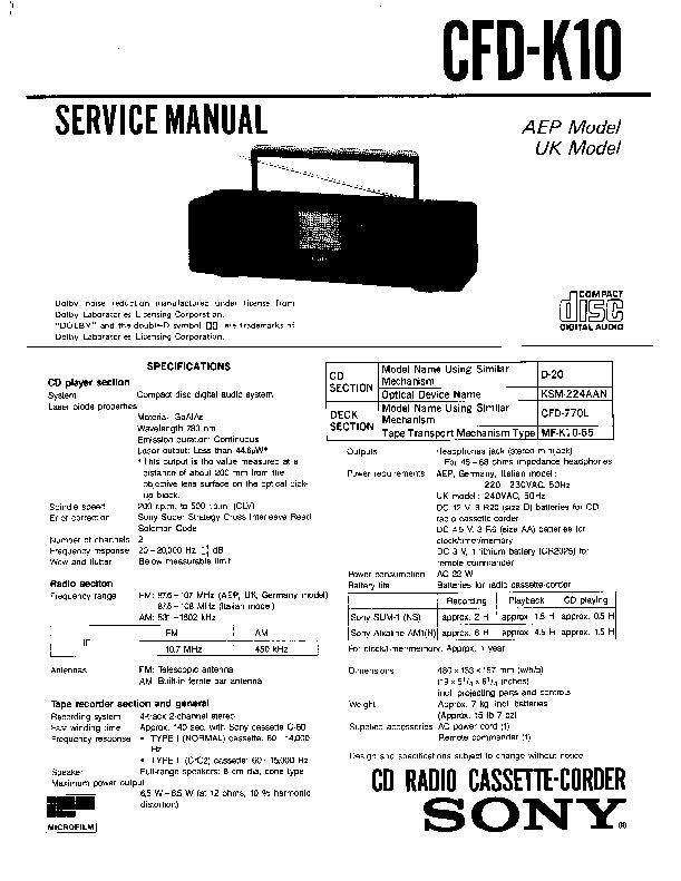 sony audio service manuals