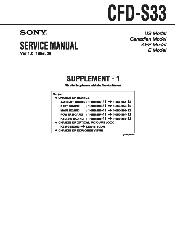 Sony Cfd-s33 Service Manual