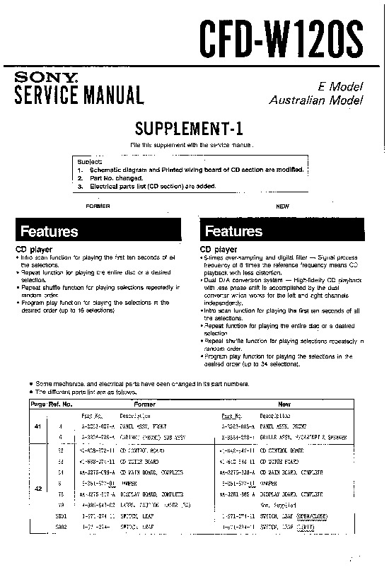 Sony CFD-W120S Service Manual - FREE DOWNLOAD