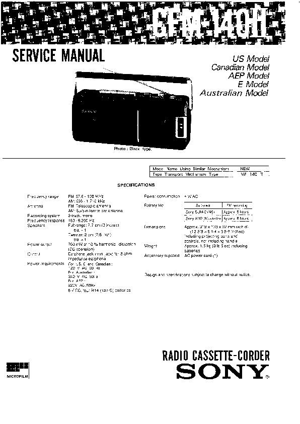 sony cfm-140-2 service manual