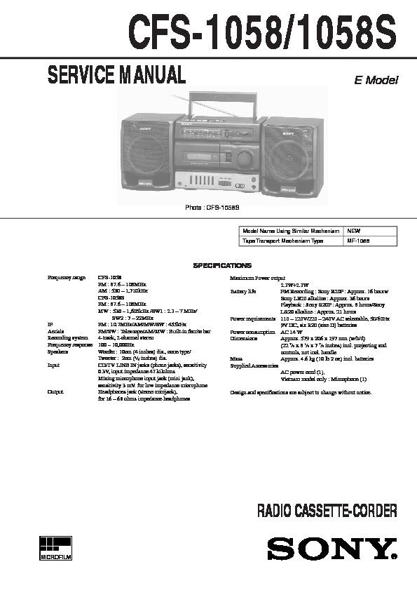 Jzh Service Manual Sony Cfs W301 Fm Am Stereo Cassette
