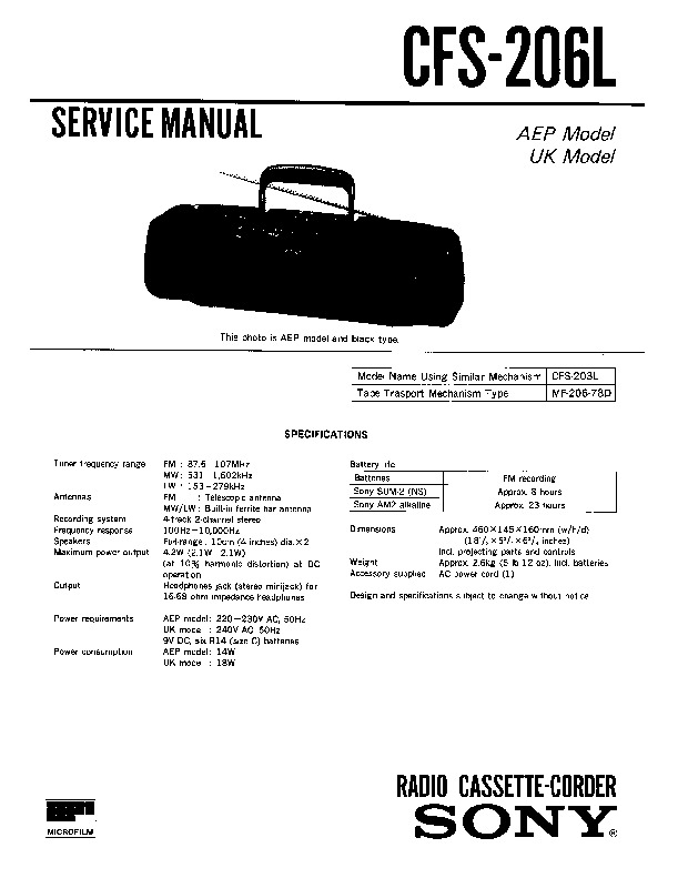 sony cfs-206 service manual