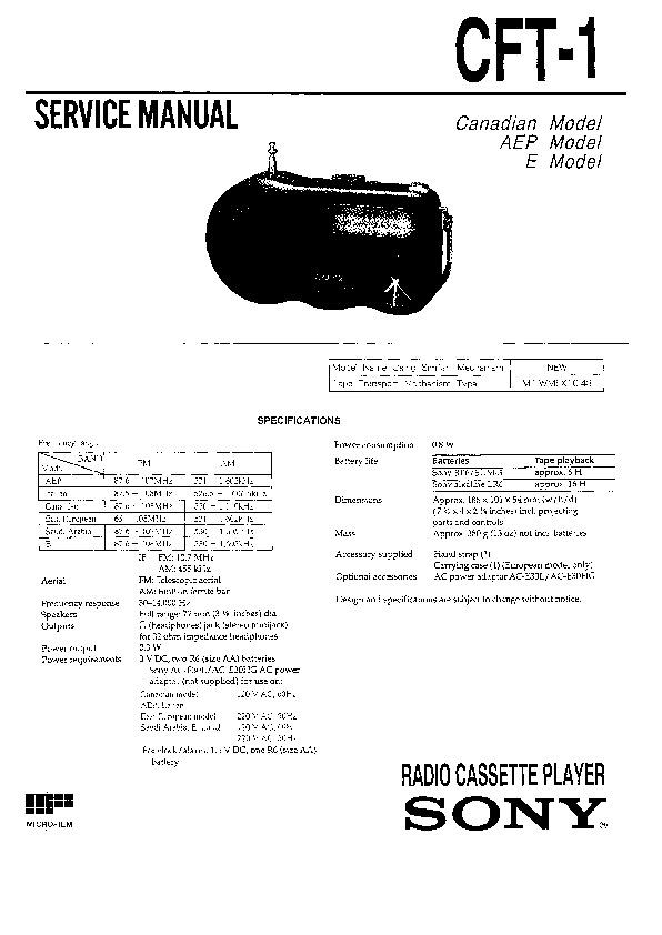sony cft-1 service manual