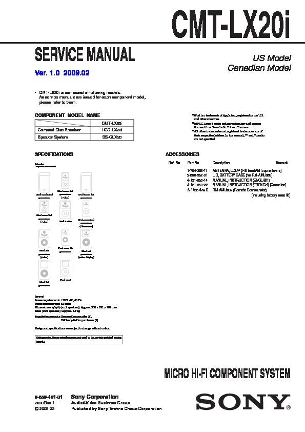 sony cmt-lx20i service manual