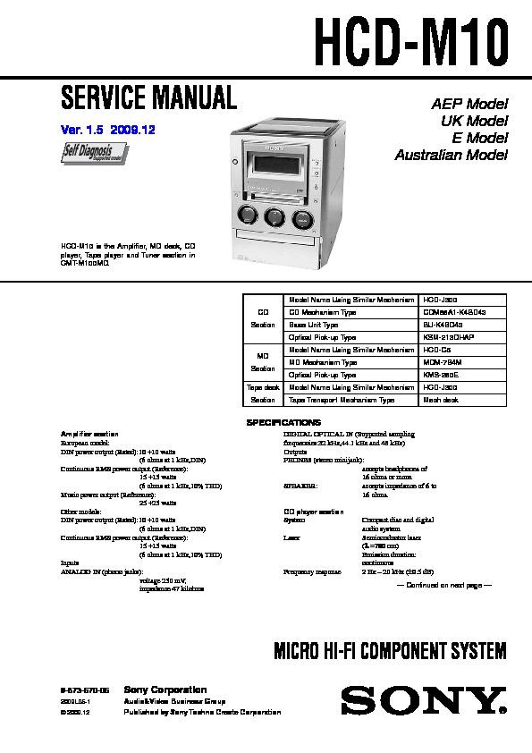 Sony Cmt-m100md  Hcd-m10 Service Manual