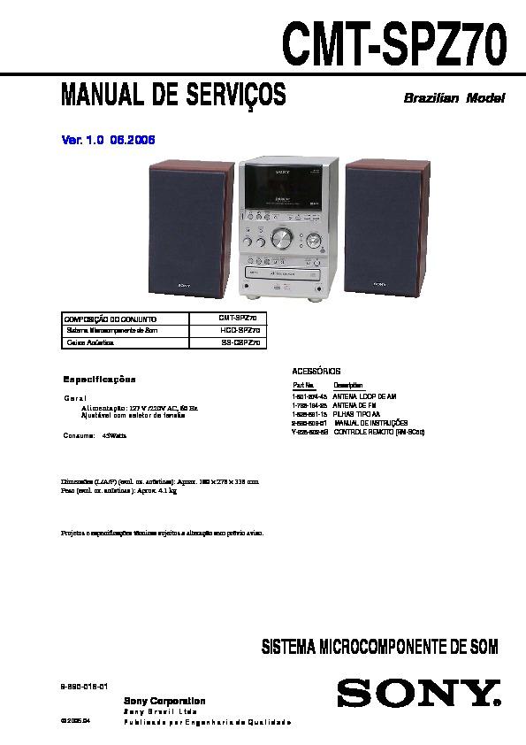 Sony Cmt-spz50  Cmt-spz70  Hcd-spz50  Hcd-spz70 Service Manual