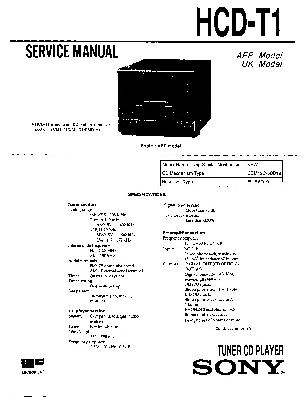sony cmt-t1  tc-tx1 service manual