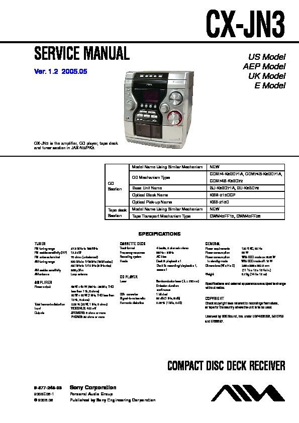 sony cx jn3 jax n3 jax pk3 service manual free