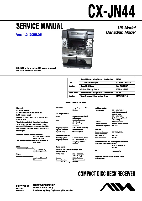 Sony Jax-s44 Service Manual