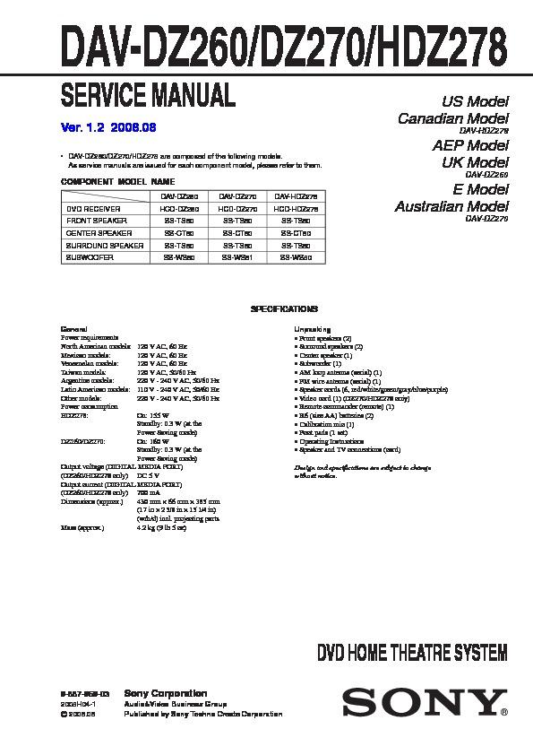 sony dav-dz270 manual pdf