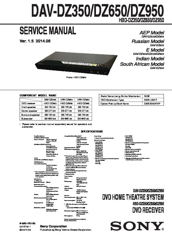 sony dav dz350 dav dz650 dav dz950 service manual free download rh servicemanuals us sony home audio system cmt-sbt40d manual sony home audio system mhc-ec619ip manual