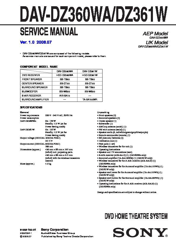 Sony Dav-dz360wa  Dav-dz361w Service Manual
