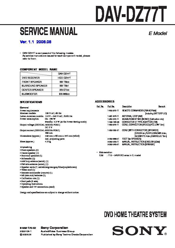 Sony Dav-dz77t Service Manual