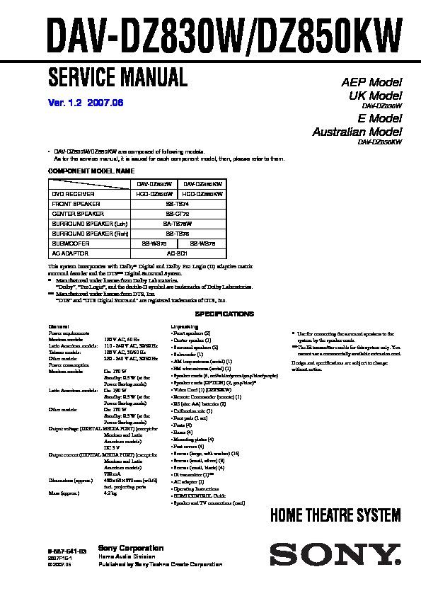 sony dav-dz850kw manual pdf