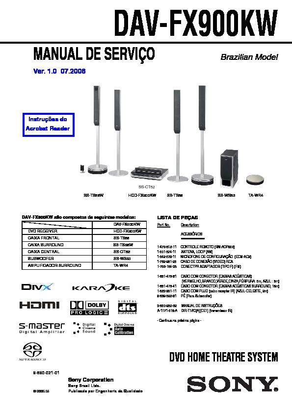 Sony Dav-fx900kw Service Manual