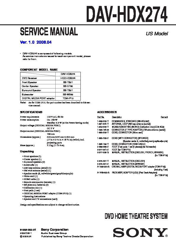 Sony Dav-hdx274  Hcd-hdx274 Service Manual