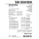 Sony DAV-S500, DAV-S800 Service Manual
