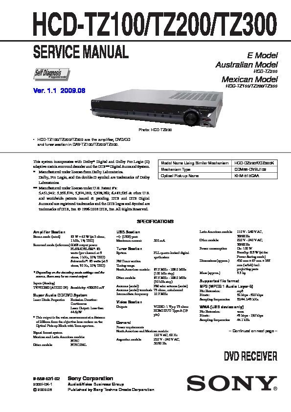 Sony hcd-tz200 manuals.