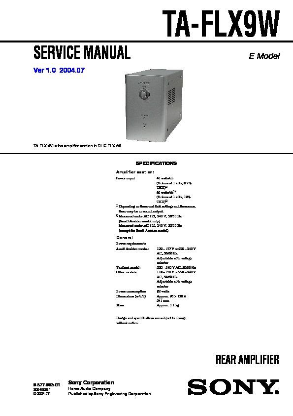 Sony Dhc-flx9w  Hcd-flx9w Service Manual