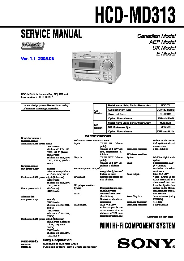 Sony Dhc-md313  Ss-md313 Service Manual