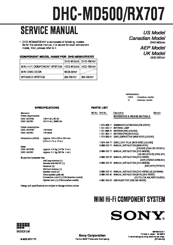 Sony Dhc-md500  Mds-s707 Service Manual