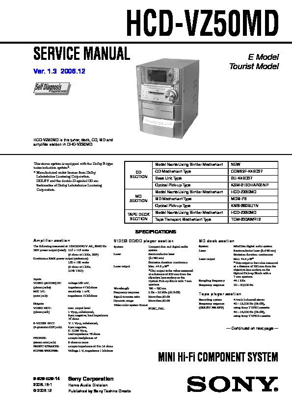 Sony Dhc-vz50md  Hcd-vz50md Service Manual