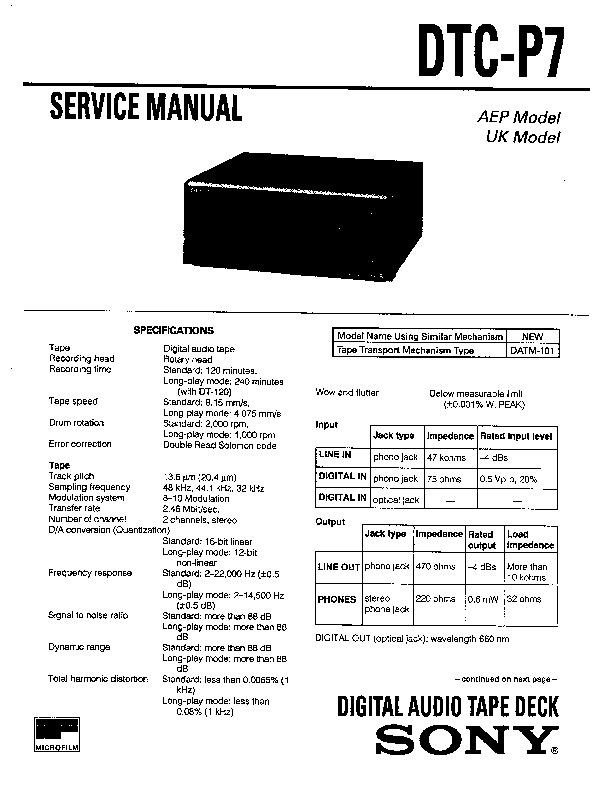 sony dtc-p7 service manual
