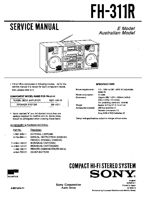 Sony Fh-311r Service Manual