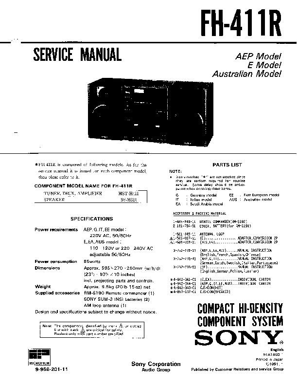 Sony Fh-411r Service Manual