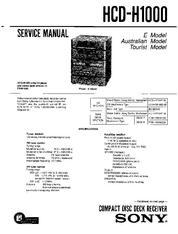 Sony HCD-H100, MHC-C10, MHC-G100 Service Manual - FREE DOWNLOAD on