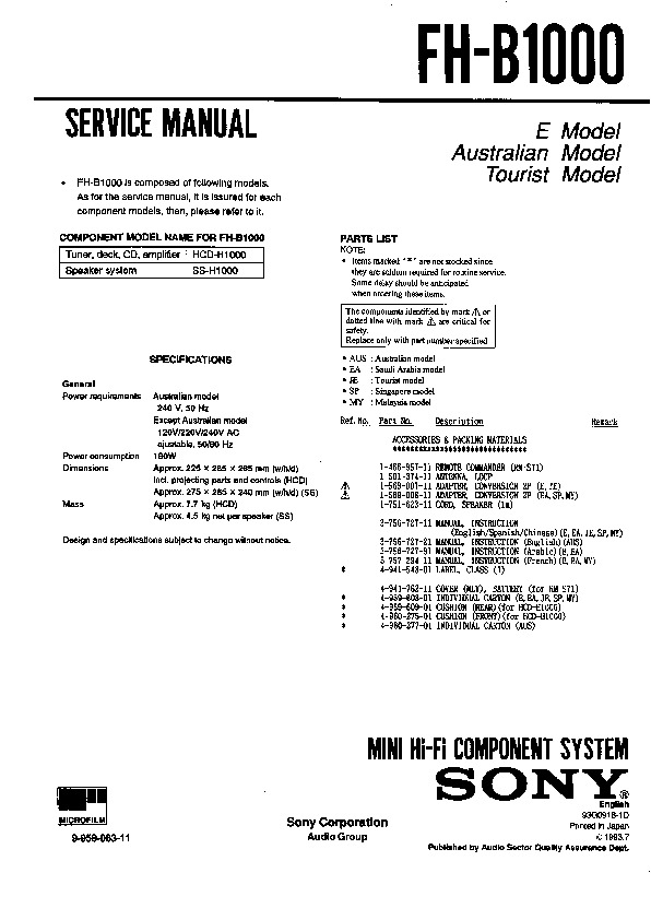 Sony Fh-b1000 Service Manual