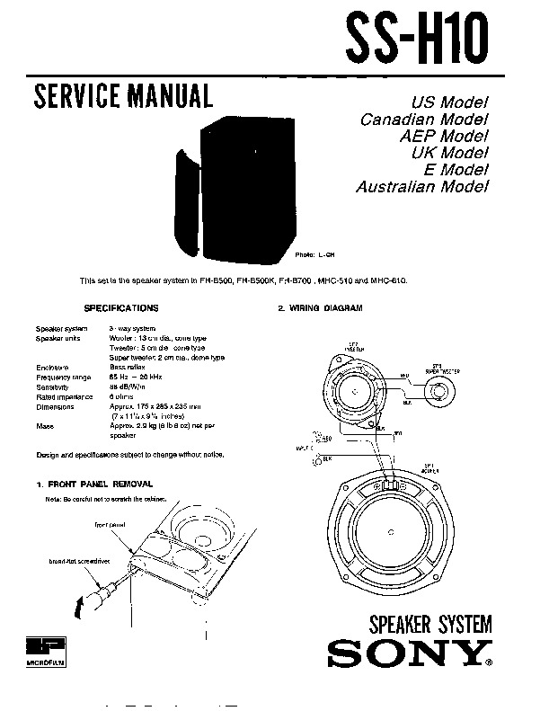 sony fh-b500  fh-b500k service manual