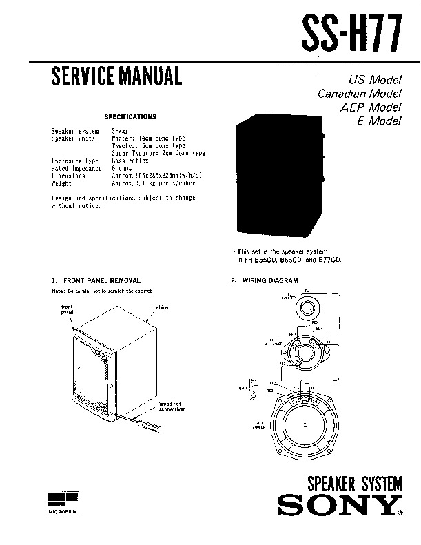 sony fh-b55cd service manual