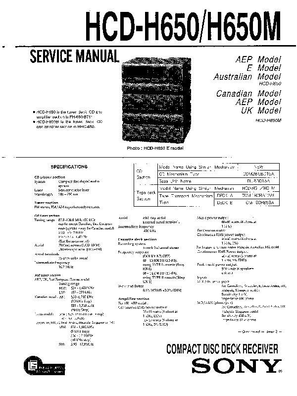 sony hcd-h650 service manual