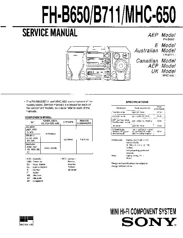 Sony Fh-b650  Fh-b711  Mhc-650 Service Manual