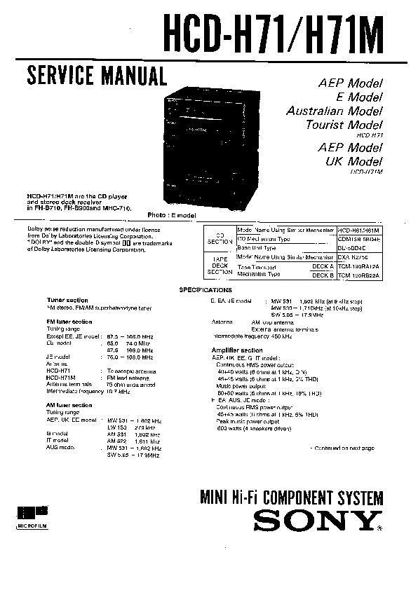 sony hcd-h71  hcd-h71m service manual