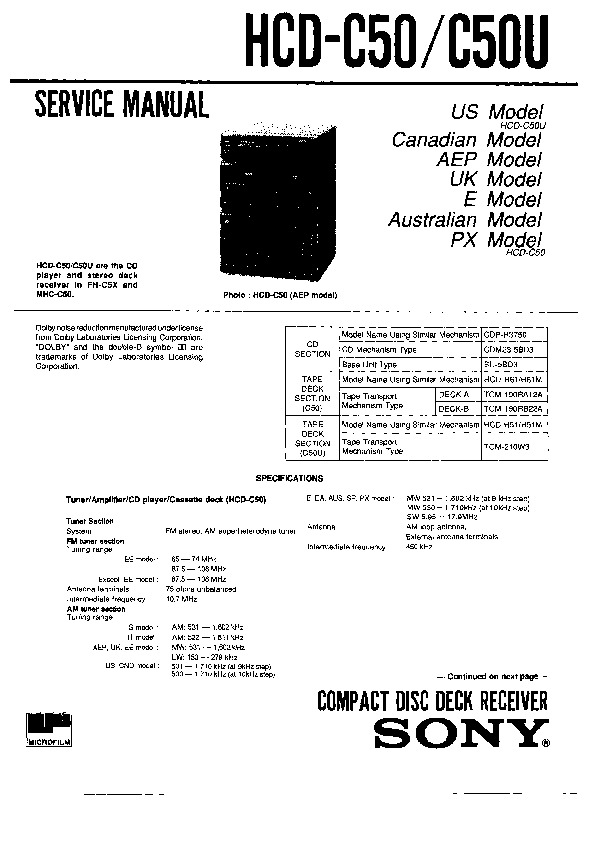 sony fh-c5x  hcd-c50  hcd-c50u  mhc-c50 service manual