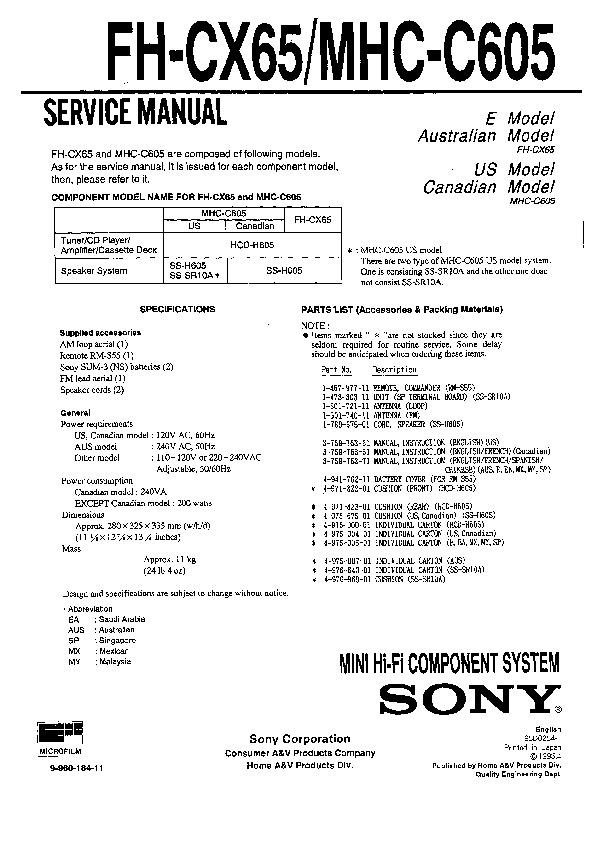Sony Mhc-c605  Ss-sr10  Ss-sr10a Service Manual